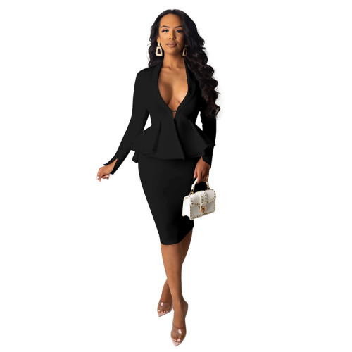 Black Long Sleeve Ruffled Top With Skirt Set TQK710030-2