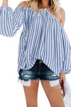 Blue Striped Off Shoulder Halter Blouse LC252352-5