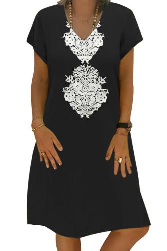 Black Summer Tribal Print V-Neck Shift Casual Dress