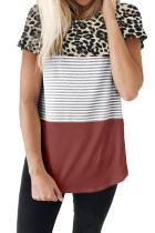 Rusty Block Striped and Leopard Short Sleeve Tee LC253230-10