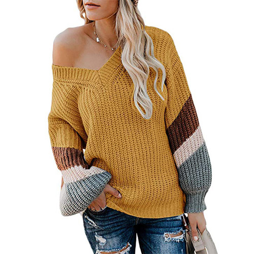 Yellow V Neck Loose Knit Sweater TQK270019-7