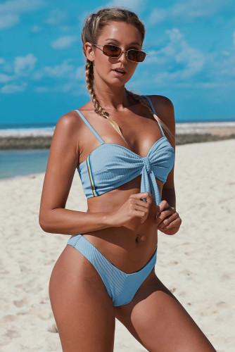 Sky Blue Spaghetti Straps Knot Ribbed Bikini LC411993-4