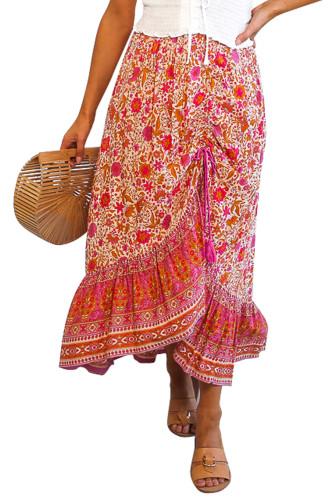 Red Floral Motif Talking Pretty Maxi Skirt LC65253-3