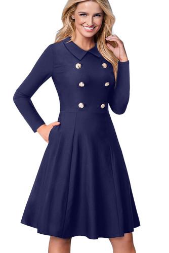 Indigo Double Breasted Vintage Flared Dress