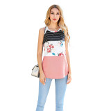 Pink Colorblock Striped Tank Tops TQK250060-39