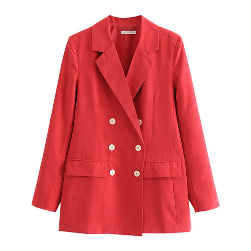 Red Double Row Button Lady Blazer Suit TQK260036-3