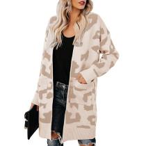 Khaki Leopard Print Down Pocketed Knit Cardigan TQK270056-21