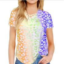 Yellow Rainbow Gradient Printed Tees TQK210357-7