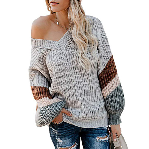 Gray V Neck Loose Knit Sweater TQK270019-11