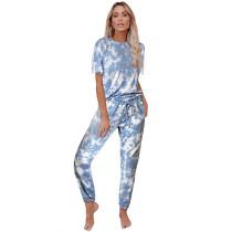 Blue Tie Dye Short Sleeve Home Wear Set TQK710034-5