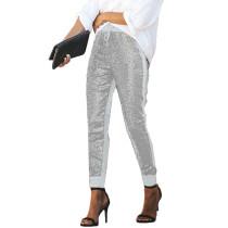 Silver PU Elastic Sequin Pants TQK510015-13
