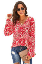 Red Long Sleeve V Neck Printed Chiffon Blouse