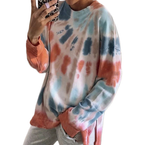 Orange Cotton Blend Tie Dye Plus Size Sweatshirt TQK210431-14
