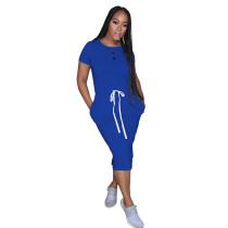 Blue Elastic Waist Short Sleeve Casual Dress TQK310321-5