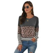 Gray Striped Splice Leopard Long Sleeve Tops TQK210425-11