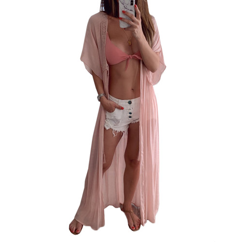 Pink Open Front Lace Kimono TQS650022-10