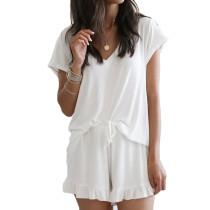 White Ruffle Hem Drawstring Pajama Set TQK710048-1