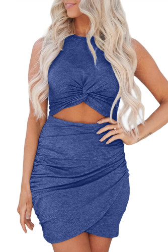 Blue Twist Knot Front Cutout Bodycon Dress LC221297-5