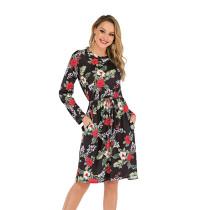 Black Flower Print Tie Wasist Casual Dress TQK310189-2
