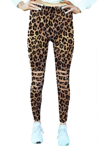 Leopard Hollow Out Fitness Activewear Leggings LC76002-20