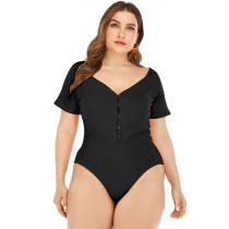 Plus Size Black V Neck Buttoned Bodysuit TQK550066-2