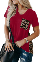 Red Leopard Printed Splicing T-Shirt LC253578-3