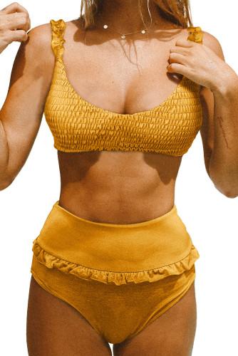 Yellow Smocked High Waist Bikini Set LC412163-7