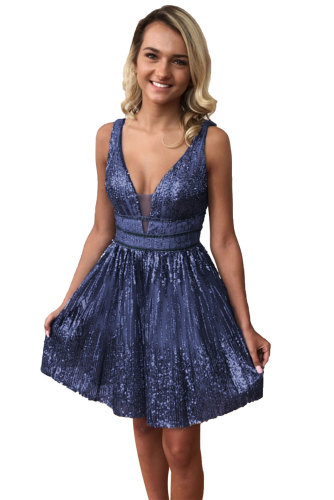 V-Neck Sequin Sparkle Homecoming Dress LC221117-13