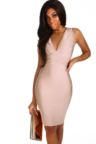 Pink V Neck Strappy Back Bandage Dress