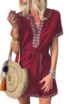 Red Summer Boho Embroidered V Neck Short Sleeve Casual Mini Dress