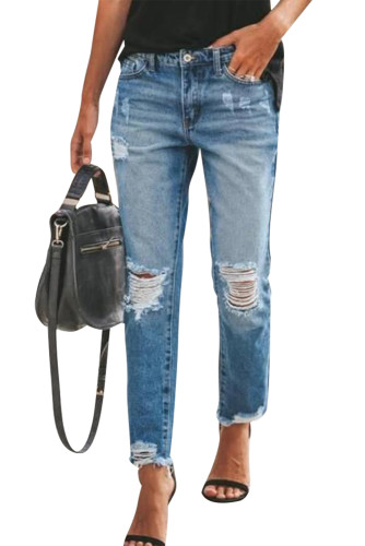Ripped Slim Fit Washed Jeans LC78010-4