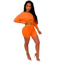 Orange Lace Up Crop Top with Shorts Set TQS710020-14