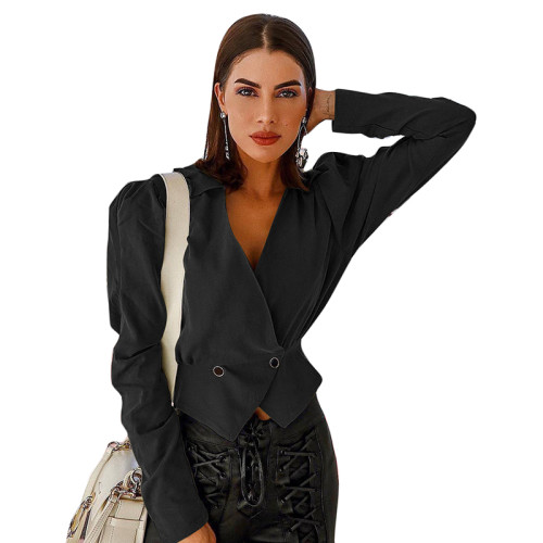 Black V Neck Short Style Lady Blazer Suit TQS260012-2