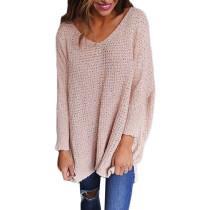 Pink Oversize Long Sleeve V Neck Knit Sweater TQK271040-10
