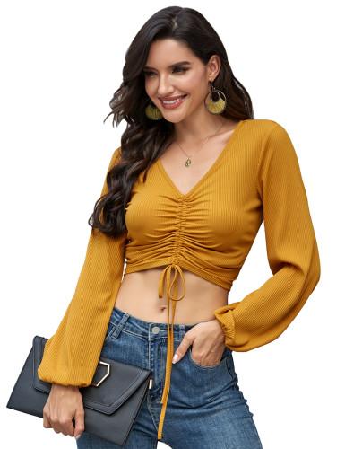 Yellow V Neck Drawstring Long Sleeve Crop Top TQK210364-7