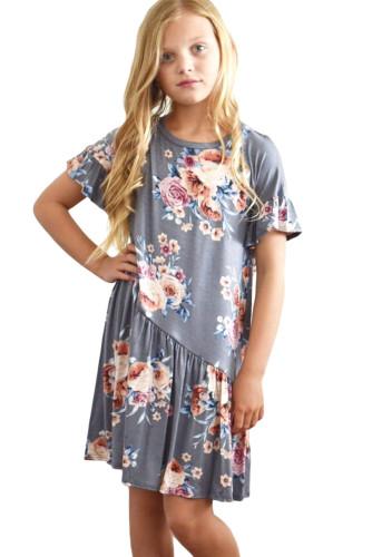 Gray Girls Floral Print Dress TZ22061-11