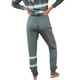 Grey green Striped Long Sleeve Pant Set Loungewear TQK710110-50