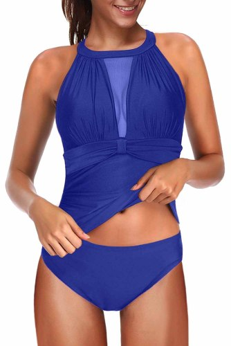 Sky Blue High Neck Plunge Mesh Ruched Tankini Swimwear LC412093-4