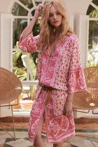 Pink Three-Quarter Sleeve Mid-Calf Print Dress LC611228-10