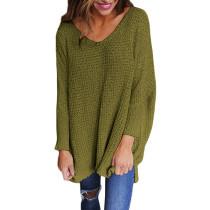 Green Oversize Long Sleeve V Neck Knit Sweater TQK271040-9