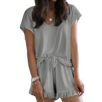 Gray Ruffle Hem Drawstring Pajama Set TQK710048-11