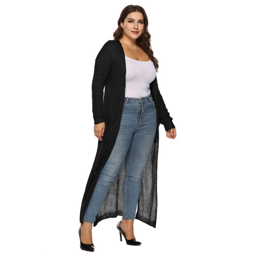 Black Split Plus Size Cardigan With Pockets TQK270039P-2