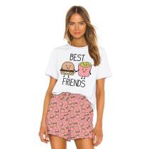 Pink Digital Print Short Sleeve Home Wear Pajama Set TQK710038-3