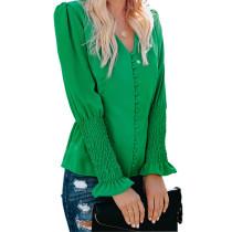 Green V Neck Long Sleeve Casual Tops