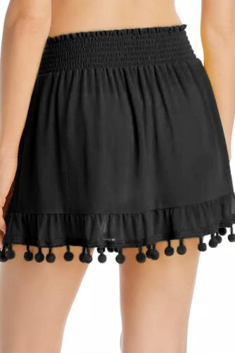 Black Tassel Pompom Ruffled Beach Skirt LC420198-2