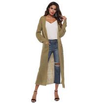 Khaki Split Long Cardigan With Pockets TQK270039-21