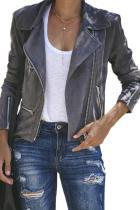 Dark Gray Zipped Notch Collar Short Jacket LC85294-1011