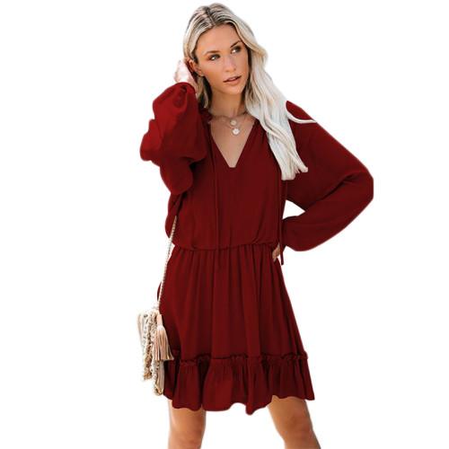 Wine Red V Neck Loose Fit Skater Dress TQK310169-103