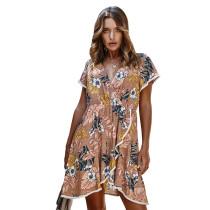 Khaki Flower Print Ruffle Hem Casual Dress TQK310314-21