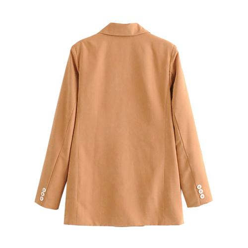 Khaki Double Row Button Lady Blazer Suit TQK260036-21